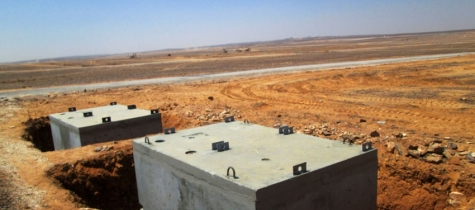 Azraq camp septic tanks